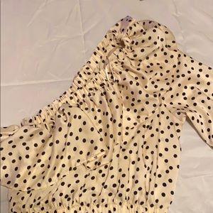 Top Shop. One shoulder, polka dot shirt